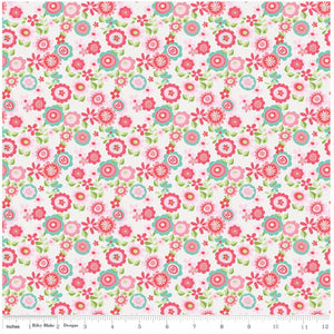 White Floral - Butterflies & Berries By Riley Blake - 100% Cotton Fabric - Rosie's Craft Shop Ltd