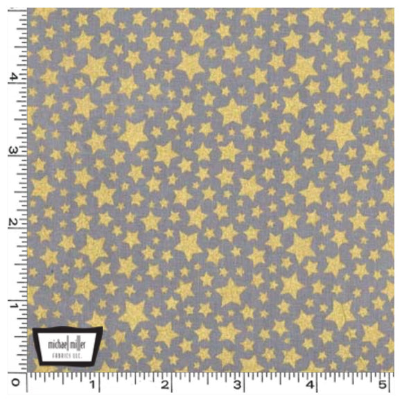 Pewter Gold Metallic Stars - Starbright by Michael Miller 100% Cotton Fabric or Fabric Felt - Rosie's Craft Shop Ltd