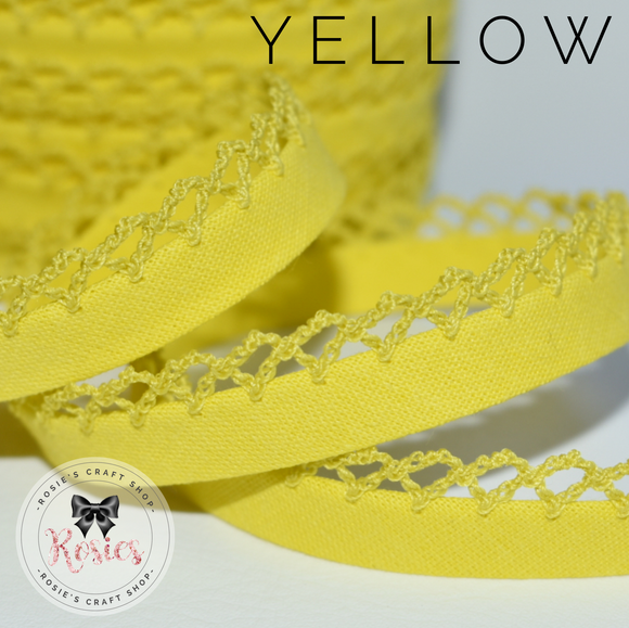12mm Yellow Plain Pre-Folded Bias Binding with Scallop Lace Edge - Rosie's Craft Shop Ltd