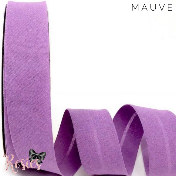 30mm Mauve Plain Polycotton Bias Binding - Rosie's Craft Shop Ltd