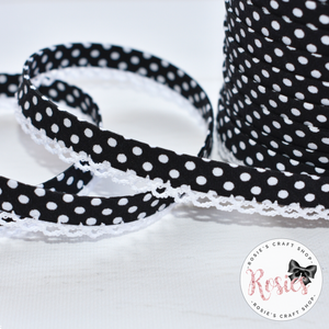 12mm Black with White Polka Dots Pre-Folded Bias Binding with Scallop Lace Edge - Rosie's Craft Shop Ltd