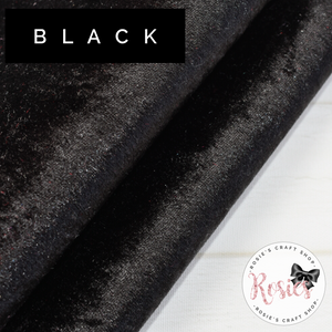 Black Crushed Velvet Fabric Felt - Rosie's Craft Shop Ltd