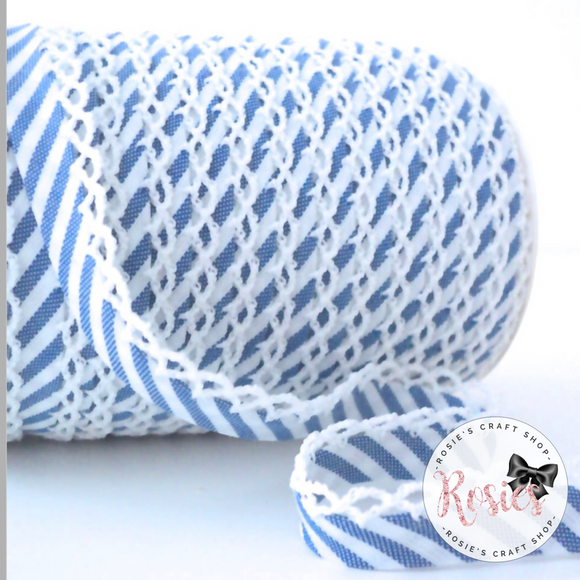 12mm Royal Blue Candy Stripe Pre-Folded Bias Binding with Scallop Lace Edge - Rosie's Craft Shop Ltd
