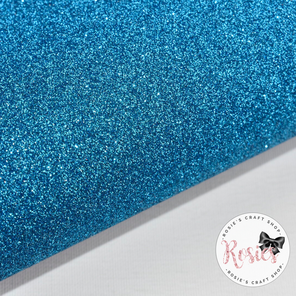 Aqua Premium Fine Glitter Topped Wool Felt - Rosie's Craft Shop Ltd
