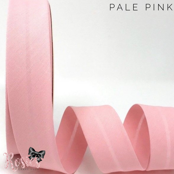 30mm Pale Pink Plain Polycotton Bias Binding - Rosie's Craft Shop Ltd