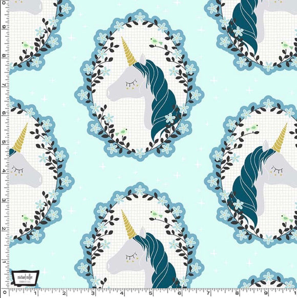 Aqua Believe in Unicorns by Michael Miller - 100% Cotton Fabric - Rosie's Craft Shop Ltd