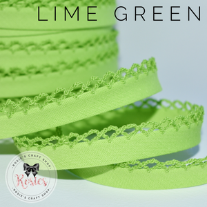 12mm Lime Green Plain Pre-Folded Bias Binding with Scallop Lace Edge - Rosie's Craft Shop Ltd