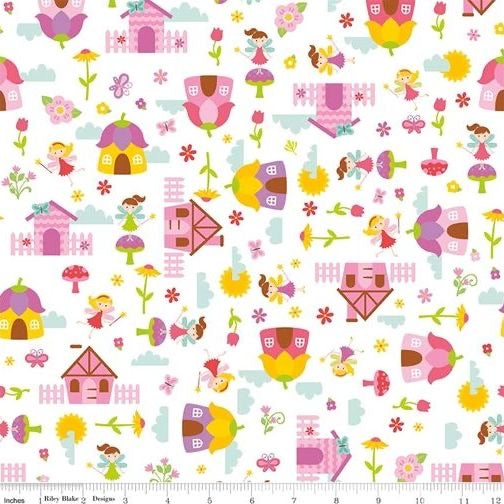 Toadstool Houses White - Fairy Garden - Riley Blake Cotton Fabric