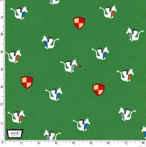 Green Dragons and Shields by Michael Miller - 100% Cotton Fabric - Rosie's Craft Shop Ltd
