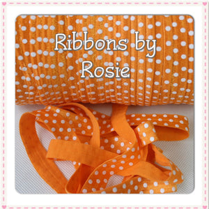 "♡ SALE 5/8"" Orange with White Polka Dots Spotty Fold Over Elastic (15mm) ♡ - Rosie's Craft Shop Ltd"