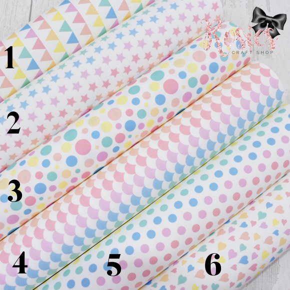 Rainbow Pastels Collection Printed Bow Canvas Fabric #1