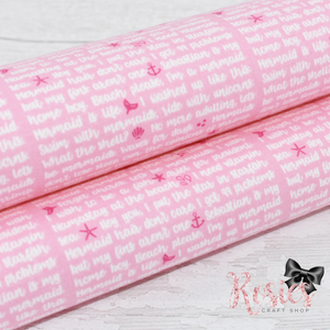 Mermaid Verse Pink with White Designer Fabric Felt