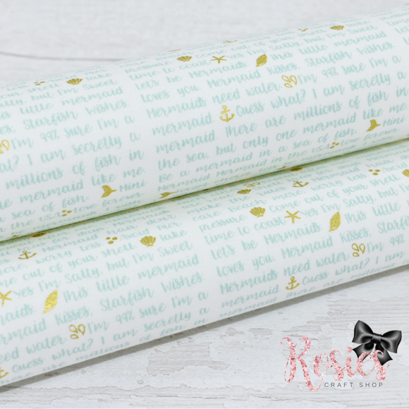 Mermaid Verse White with Green Designer Fabric Felt