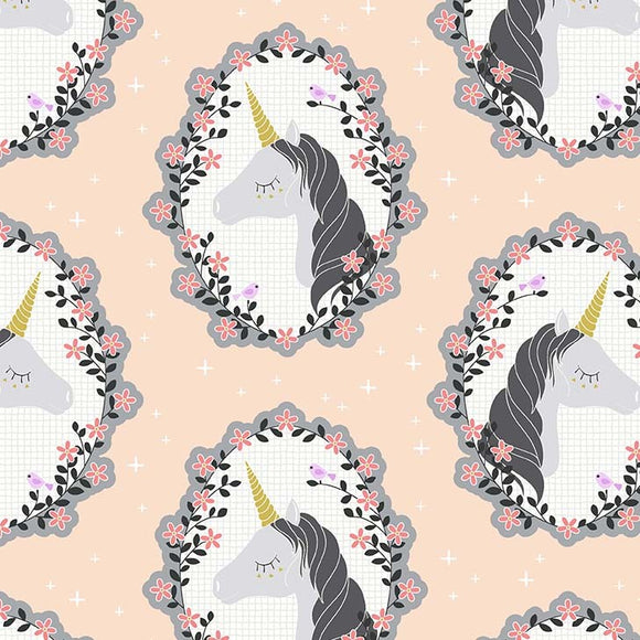 Blossom Unicorns - Believe by Michael Miller - 100% Metallic Cotton Fabric