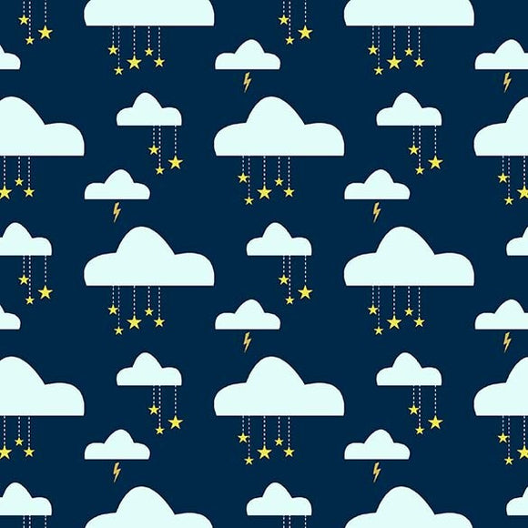 Swinging on a Star Navy Clouds - Believe by Michael Miller - 100% Cotton Fabric