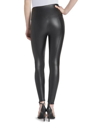 Black Vegan Leather Leggings - Lysse