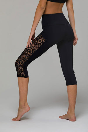 Stunner Black Lace Capri Leggings - Onzie Flow -