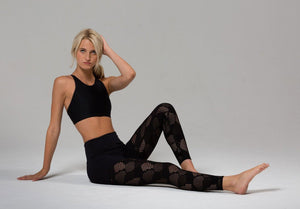Black Honeycomb Mesh Leggings - Onzie Flow - My Legwear Shop