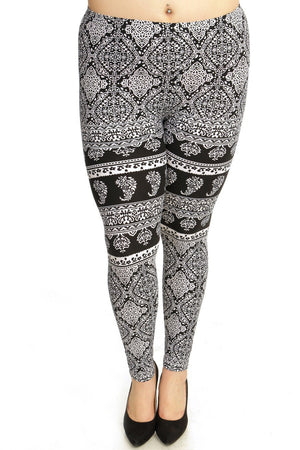 Black & White Dainty Print Soft Brush Leggings Plus Size - My Legwear Shop