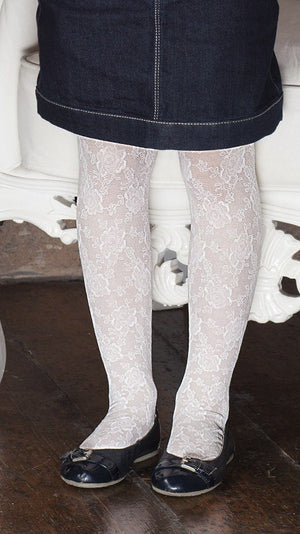 Fio Italian Lace Patterned Tights for Girls - Calze Trasparenze - My Legwear Shop