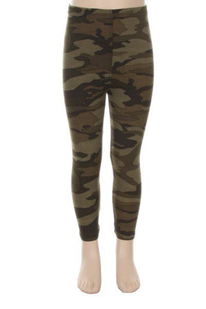 Camouflage Soft Brush Leggings for Girls - My Legwear Shop