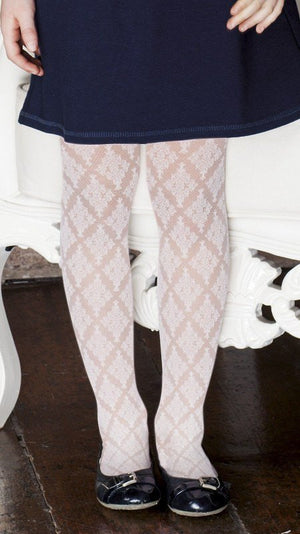 Satsuki Italian Lace Patterned Tights For Girls - Calze Trasparenze - My Legwear Shop