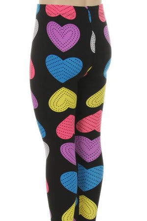 Girls Multi-Colored Heart Leggings - Always - My Legwear Shop