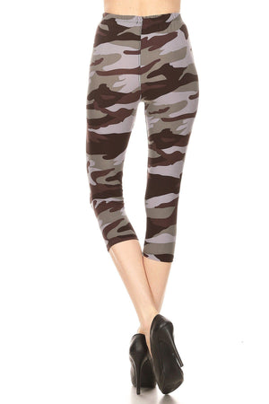 Cropped Camouflage Soft Brush Leggings - My Legwear Shop