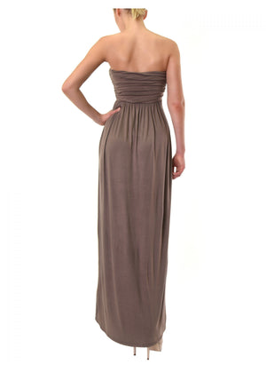 Strapless Ruching Tube Top Dress - My Legwear Shop