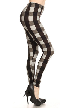 Black & White Plaid Print Soft Brush Leggings - Always - My Legwear Shop