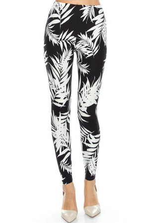 Tropical Palm Leaf Soft Brush Leggings - Always - My Legwear Shop
