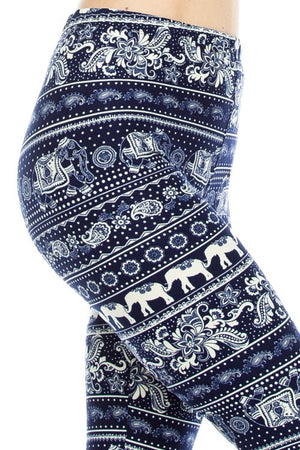 Navy Tribal Print Soft Brush Leggings - Always - My Legwear Shop