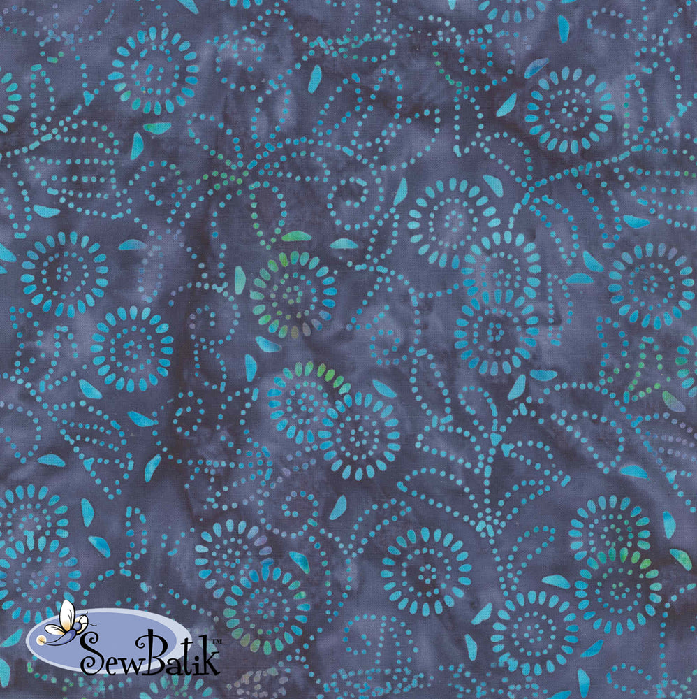 "108"" Wide Batik - Medora Flora - Navy Jewel"