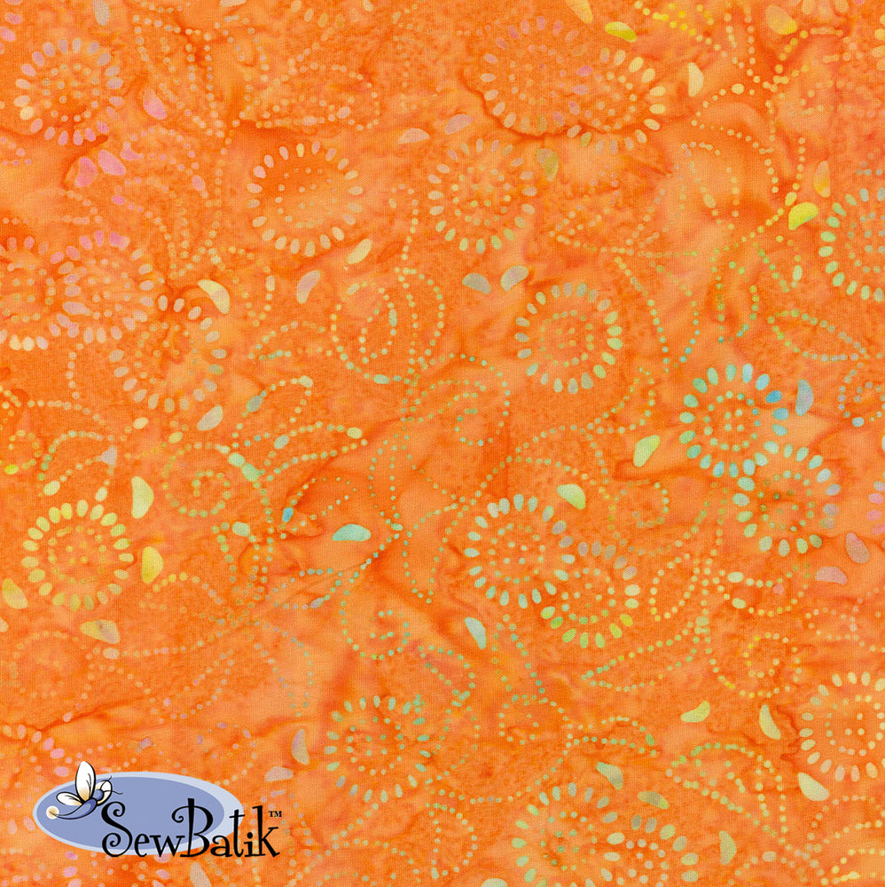 "108"" Wide Batik - Medora Flora - Orange Peel"
