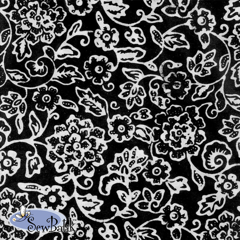 "45"" Cotton - Jardin - Black White"