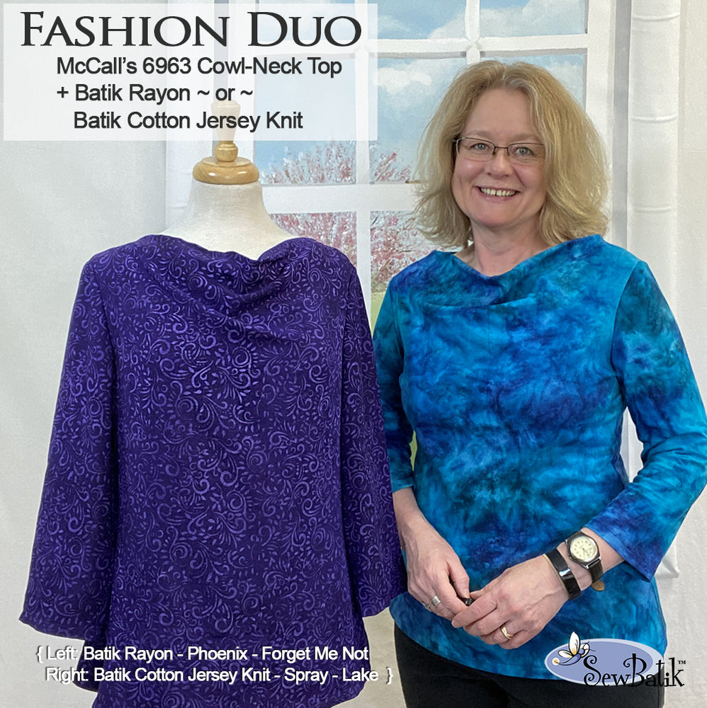 Fashion Duo - Cowl-Neck Top + Jersey Knit