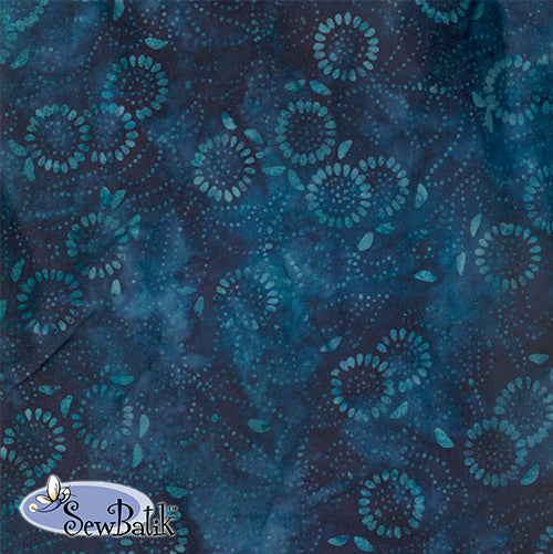 "72"" Cotton Jersey Knit - Medora Flora - Copen Blue"