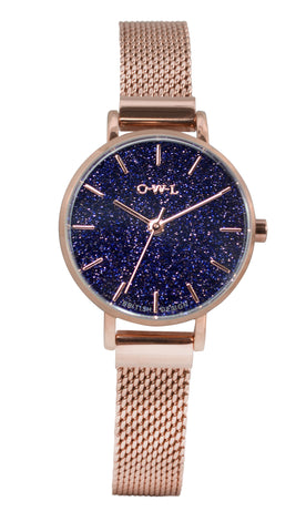 blue sand stone ladies rose gold mesh watch