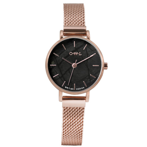 Rose gold mesh watch small balck natural stone dial