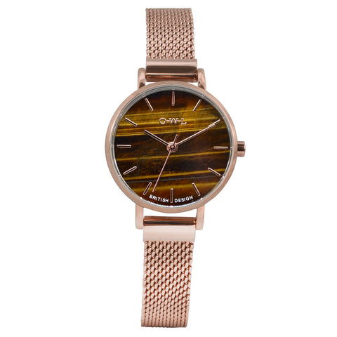 Small rose gold . ladies watch with tiger eye natural stone dial