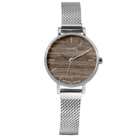 Silver mesh watch withnatural stone grey marble dial