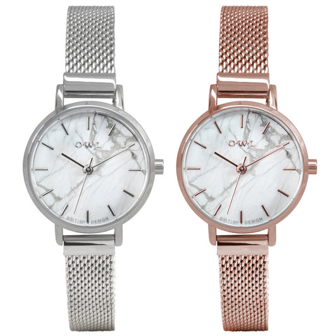 White stone dial on am ladies small mesh watch in silver or rose gold