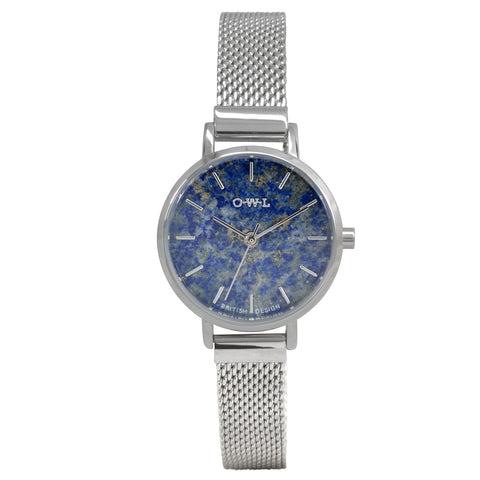 lapis lazuli stone watch on a silver mesh