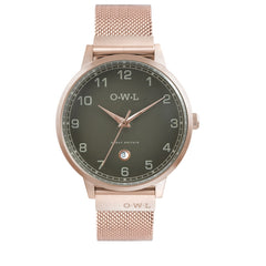Mens rose gold mesh watch his