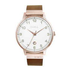 Mens rose gold brown leather strap watch his