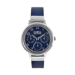 Ladies navy and silver leather strap watch
