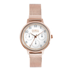 Ladies rose gold mesh multi dial watch