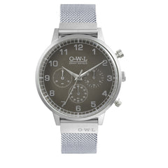 Mens chronograph grey mesh strap stainless steel watch