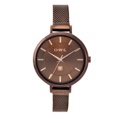 Brown with rose gold ladies mesh watch