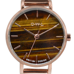 rose gold mesh tiger eye watch